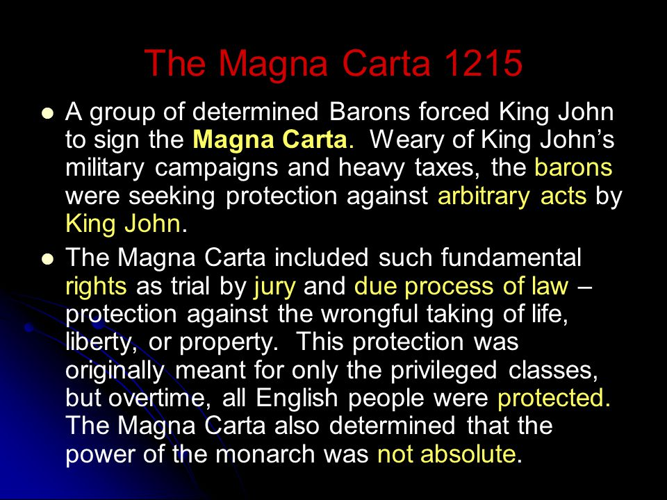 Activity: Important Documents That Influenced Democracy Directions: Pairs - Read aloud the information about the Magna Carta, Petition of Right and th