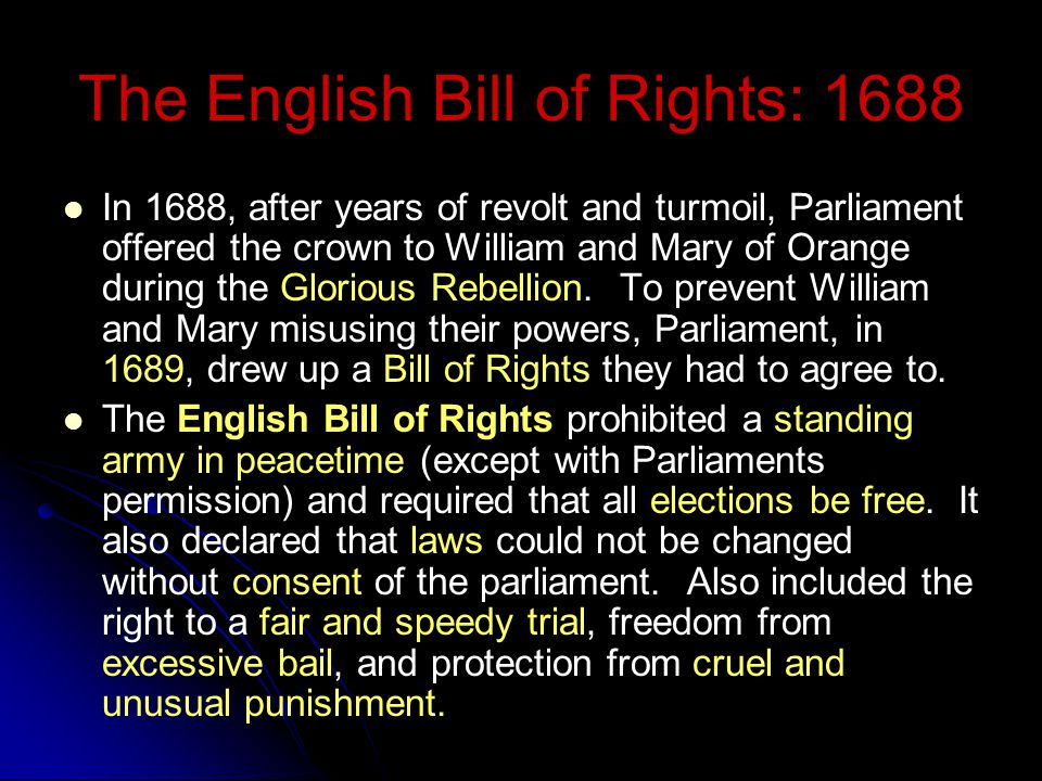 Documents Influencing Early Government Magna Carta: 1215 Barons vs. King John Petition of Right: 1628 Parliament and Charles I English Bill of Rights: