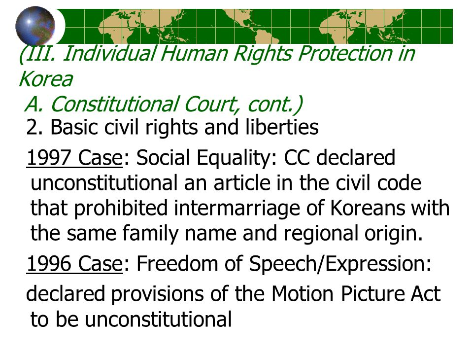 (III. Individual Human Rights Protection in Korea A.
