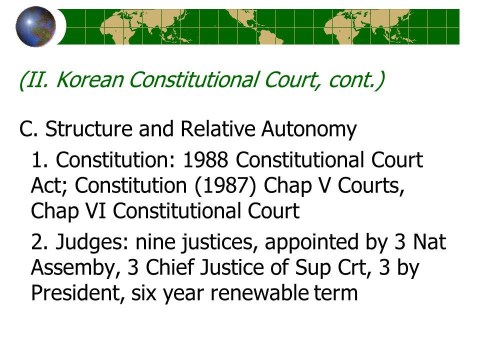 (II. Korean Constitutional Court, cont.) C. Structure and Relative Autonomy 1.
