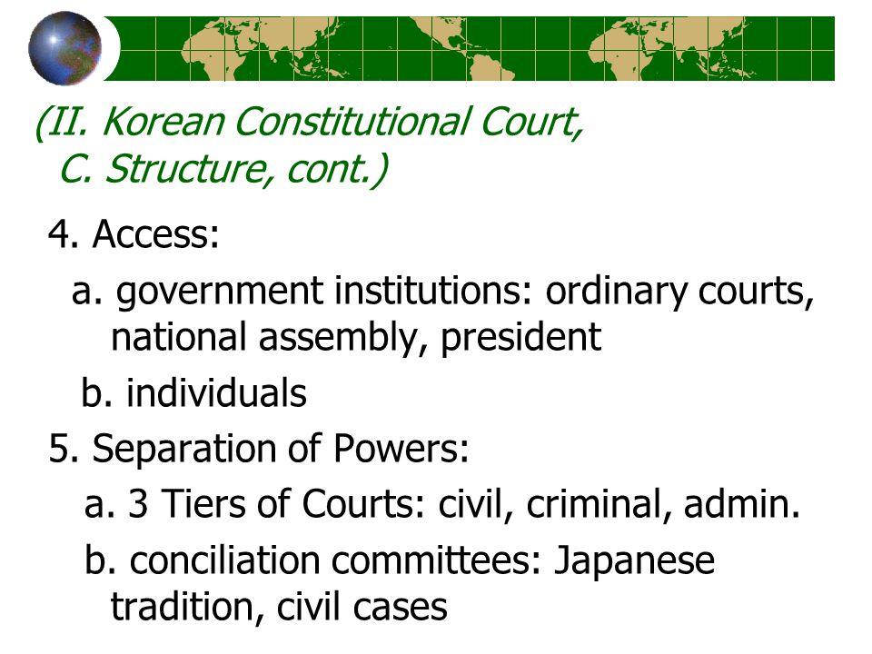 (II. Korean Constitutional Court, C. Structure, cont.) 4.