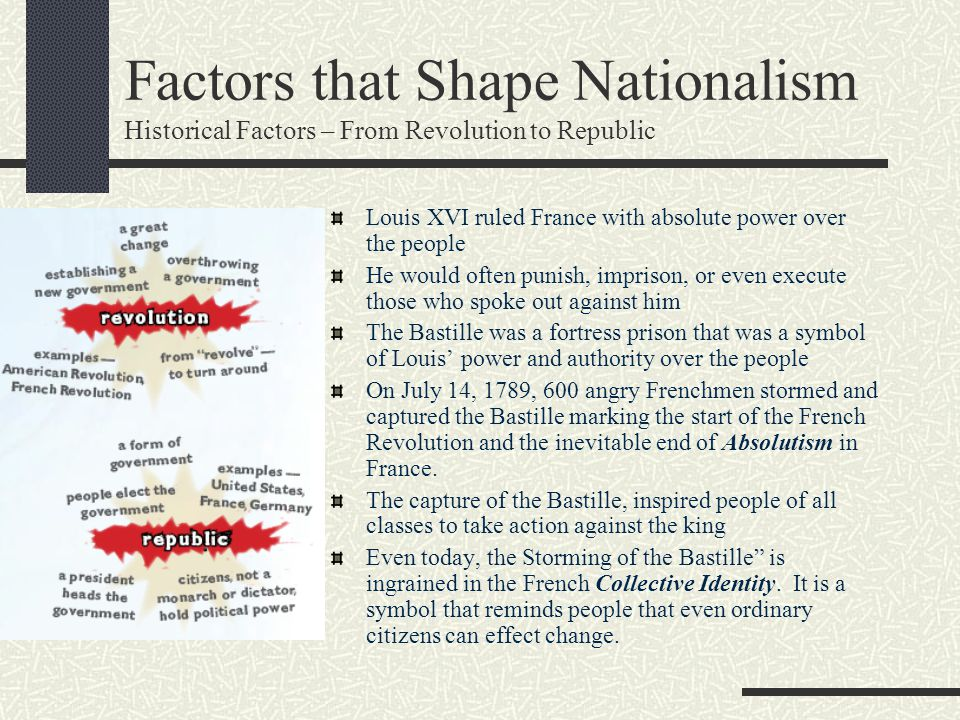 Factors that Shape Nationalism Historical Factors – From Revolution to Republic Louis XVI ruled France with absolute power over the people He would of