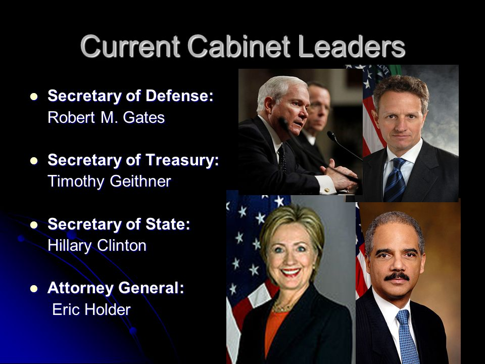 Current Cabinet Leaders Secretary of Defense: Secretary of Defense: Robert M.
