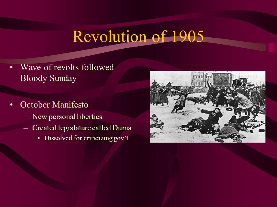 Revolution of 1905 Wave of revolts followed Bloody Sunday October Manifesto –New personal liberties –Created legislature called Duma Dissolved for cri