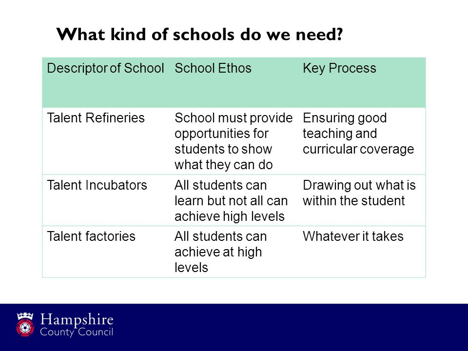 What kind of schools do we need.