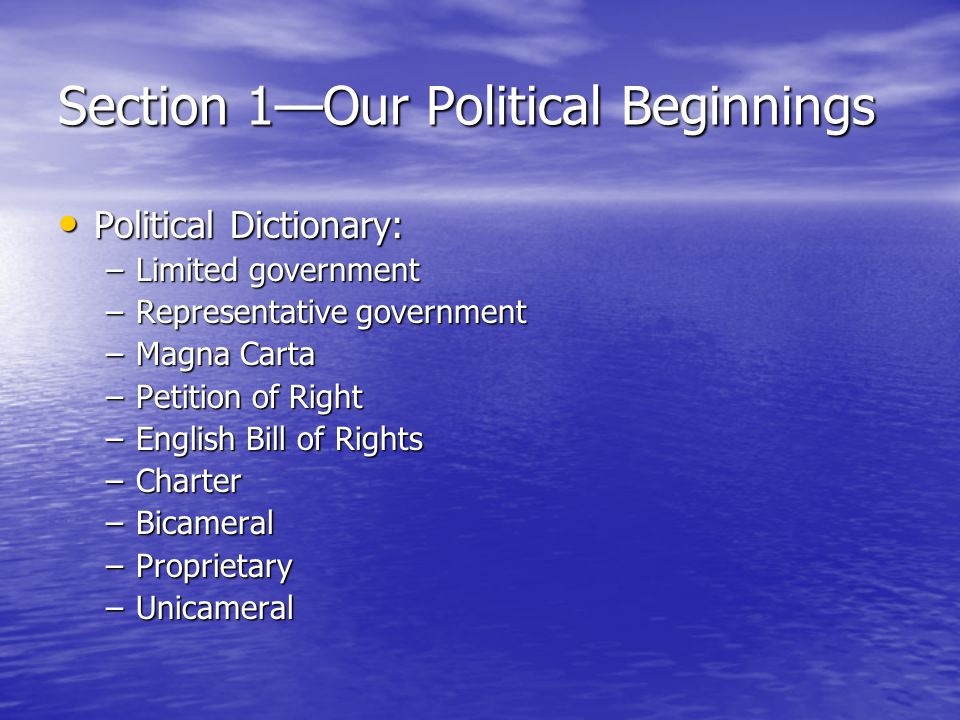 Section 2—The Coming of Independence Political Dictionary: Political Dictionary: –Confederation –Albany Plan of Union –Delegate –Boycott –Repeal –Popular Sovereignty
