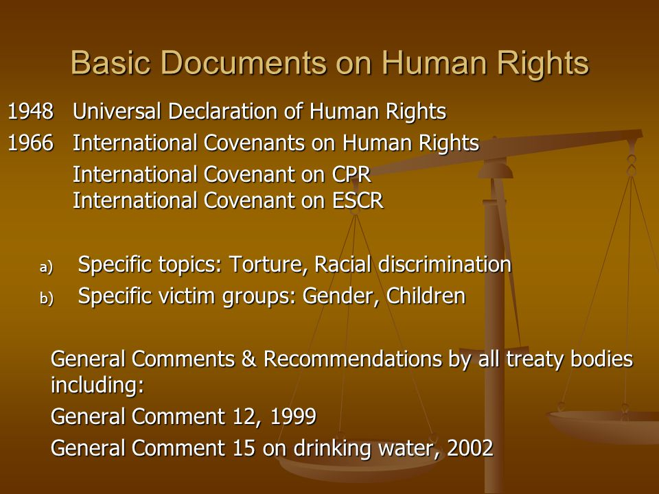 Basic Documents on Human Rights 1948Universal Declaration of Human Rights 1966International Covenants on Human Rights International Covenant on CPR In