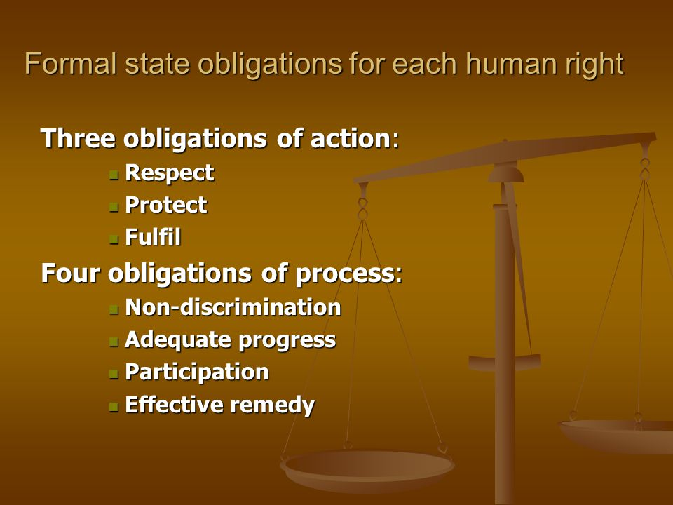 Formal state obligations for each human right Three obligations of action: Respect Respect Protect Protect Fulfil Fulfil Four obligations of process: