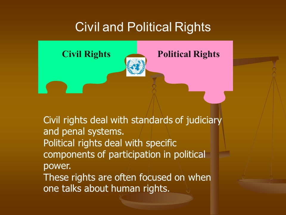 Civil and Political Rights Civil RightsPolitical Rights Civil rights deal with standards of judiciary and penal systems. Political rights deal with sp