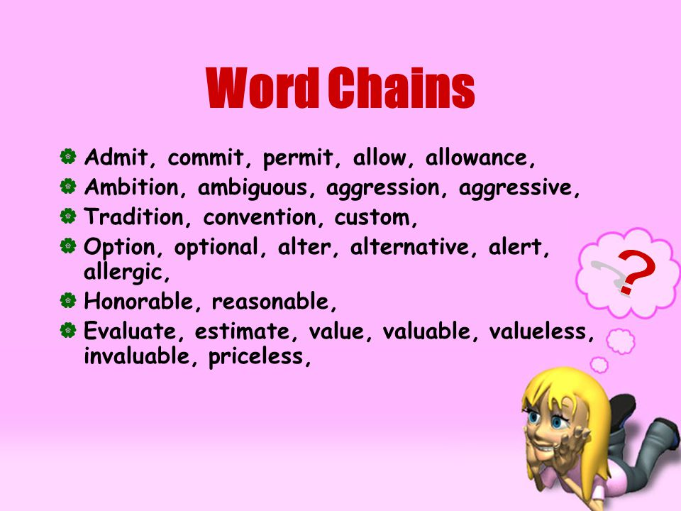 Word Chains AAdmit, commit, permit, allow, allowance, AAmbition, ambiguous, aggression, aggressive, TTradition, convention, custom, OOption, optional, alter, alternative, alert, allergic, HHonorable, reasonable, EEvaluate, estimate, value, valuable, valueless, invaluable, priceless,