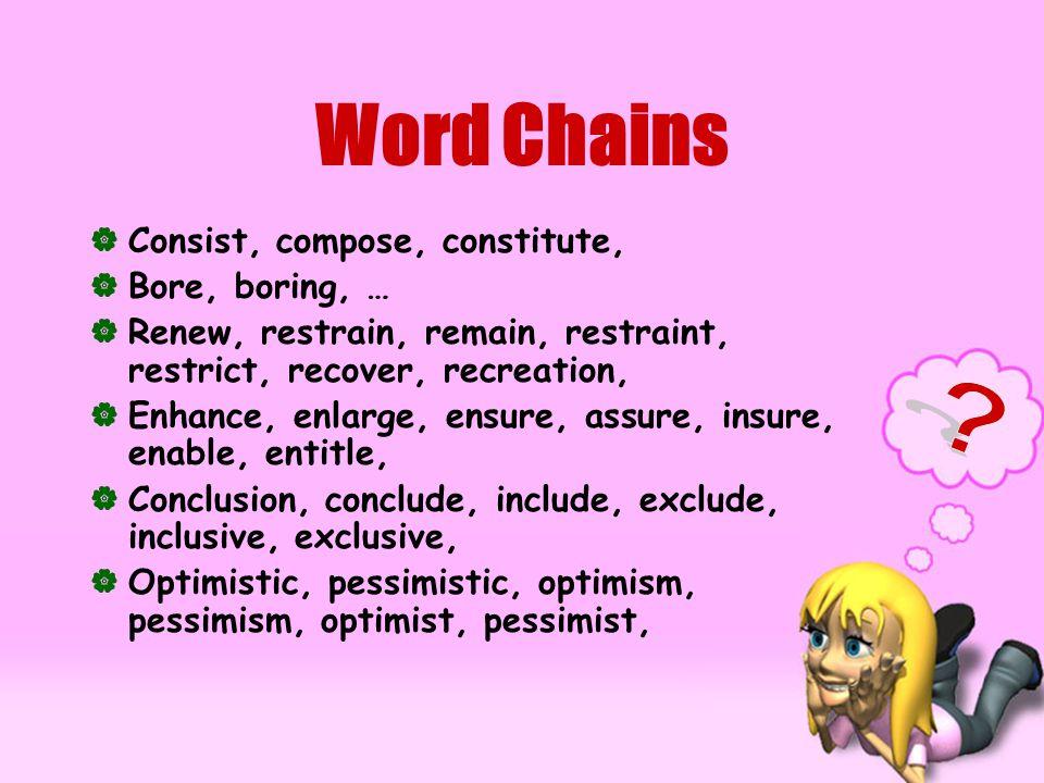 Word Chains CConsist, compose, constitute, BBore, boring, … RRenew, restrain, remain, restraint, restrict, recover, recreation, EEnhance, enlarge, ensure, assure, insure, enable, entitle, CConclusion, conclude, include, exclude, inclusive, exclusive, OOptimistic, pessimistic, optimism, pessimism, optimist, pessimist,