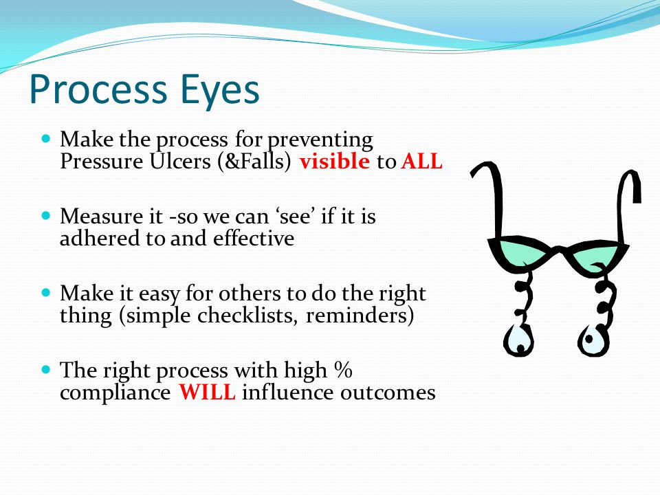 Process Eyes Make the process for preventing Pressure Ulcers (&Falls) visible to ALL Measure it -so we can 'see' if it is adhered to and effective Mak
