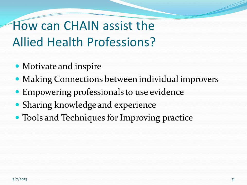 How can CHAIN assist the Allied Health Professions? Motivate and inspire Making Connections between individual improvers Empowering professionals to u