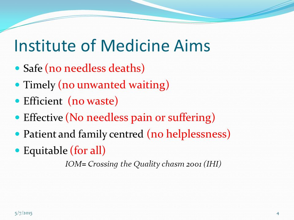Institute of Medicine Aims Safe (no needless deaths) Timely (no unwanted waiting) Efficient (no waste) Effective (No needless pain or suffering) Patie