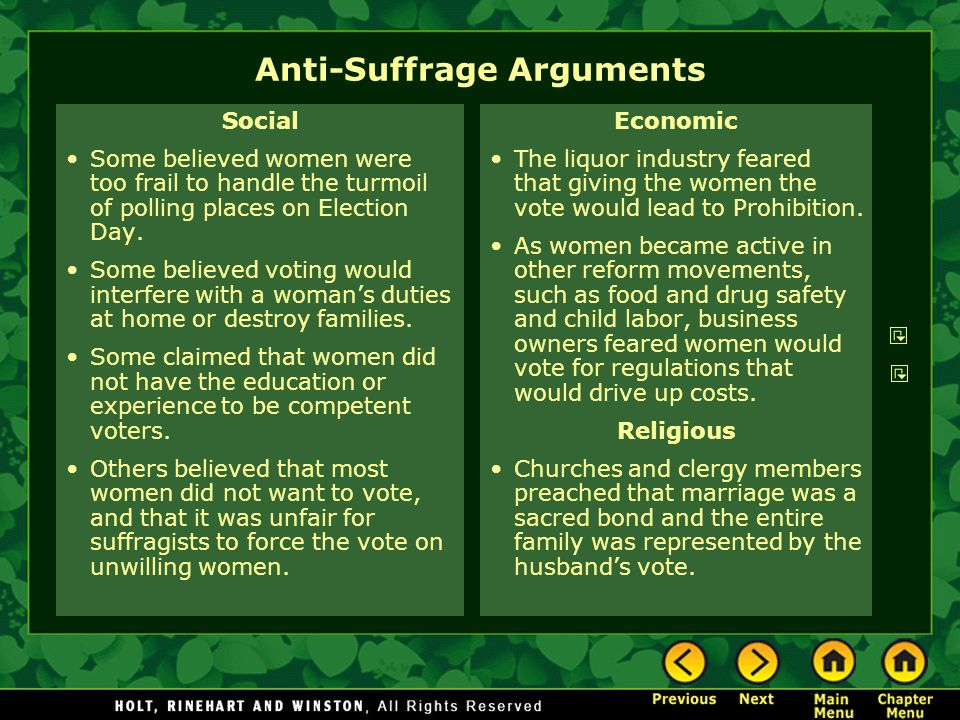 Anti-Suffrage Arguments Social Some believed women were too frail to handle the turmoil of polling places on Election Day.