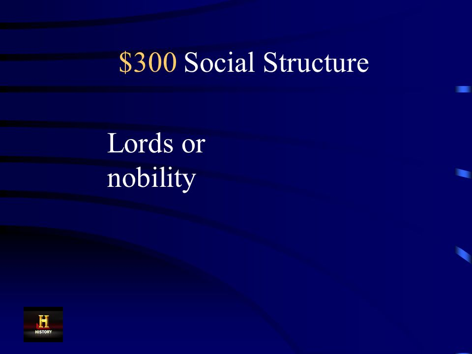 $300 Social Structure In medieval Europe, the monarch supplied land to these people in exchange for an oath of loyalty.