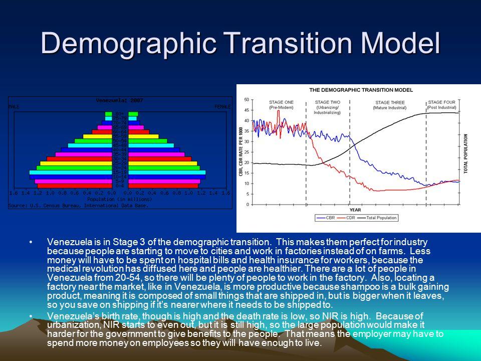 Demographic Transition Model Venezuela is in Stage 3 of the demographic transition.