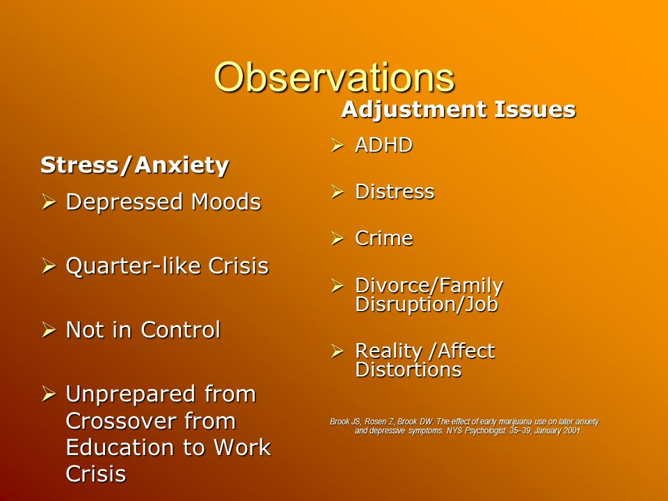 Observations Stress/Anxiety  Depressed Moods  Quarter-like Crisis  Not in Control  Unprepared from Crossover from Education to Work Crisis Adjustment Issues  ADHD  Distress  Crime  Divorce/Family Disruption/Job  Reality /Affect Distortions Brook JS, Rosen Z, Brook DW.
