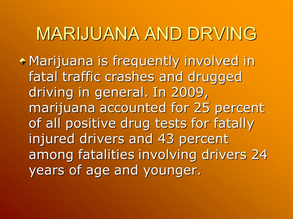 MARIJUANA AND DRVING Marijuana is frequently involved in fatal traffic crashes and drugged driving in general.