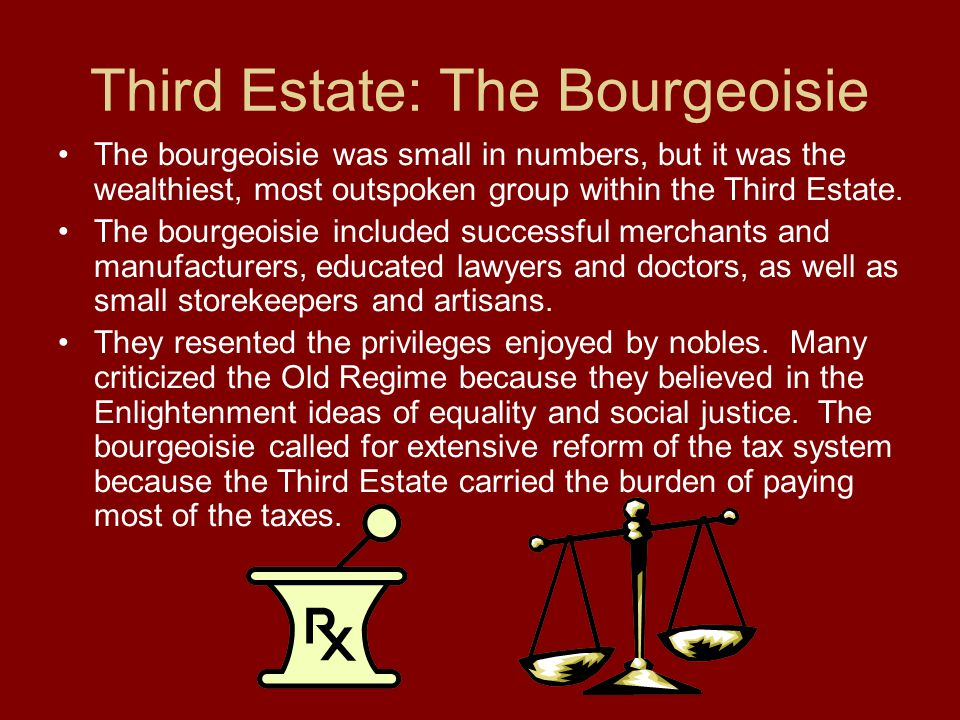 Third Estate: The Bourgeoisie The bourgeoisie was small in numbers, but it was the wealthiest, most outspoken group within the Third Estate. The bourg