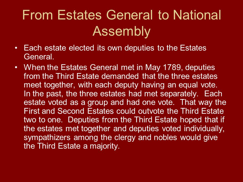 From Estates General to National Assembly Each estate elected its own deputies to the Estates General. When the Estates General met in May 1789, deput