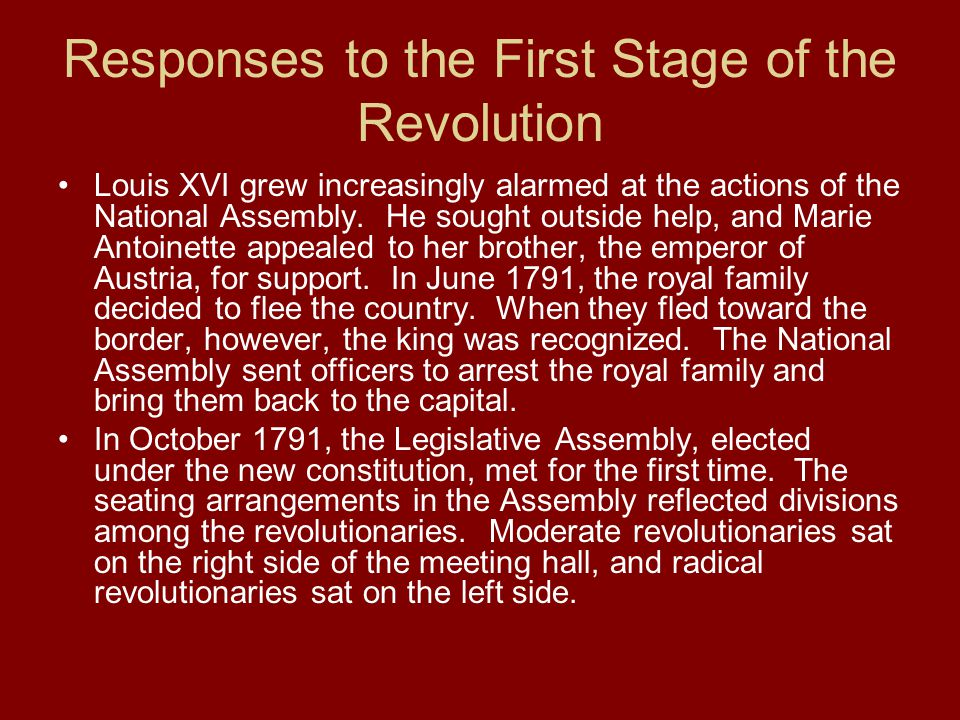 Responses to the First Stage of the Revolution Louis XVI grew increasingly alarmed at the actions of the National Assembly. He sought outside help, an