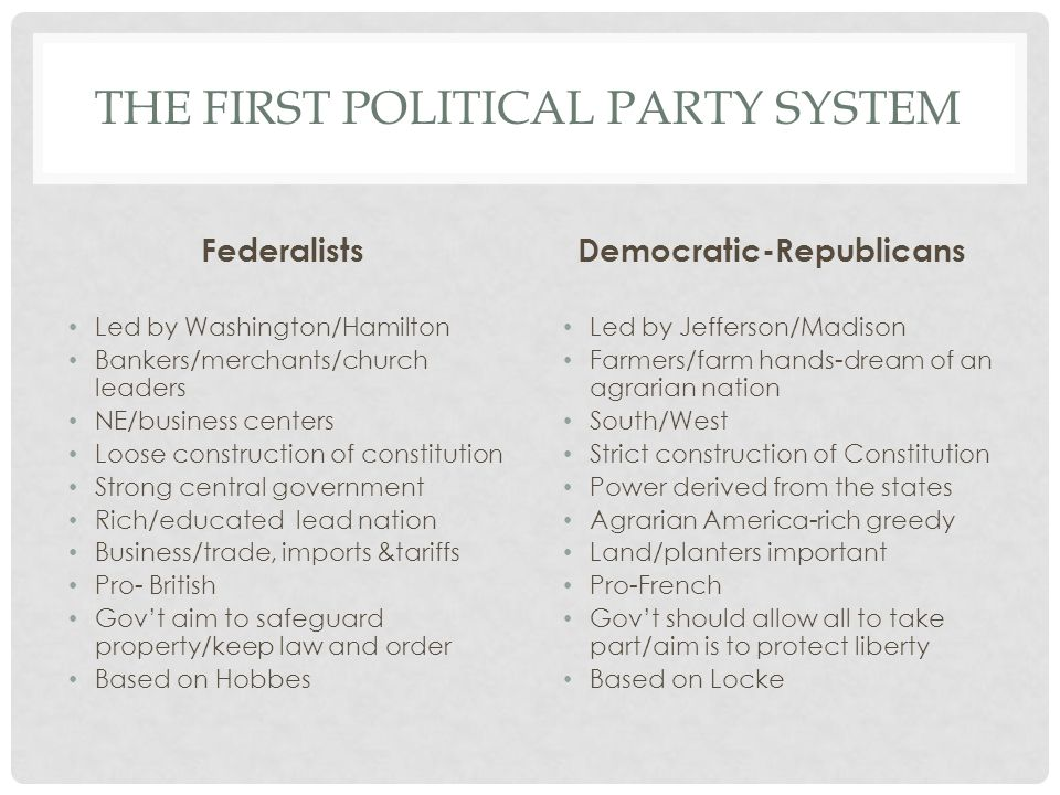 THE FIRST POLITICAL PARTY SYSTEM Federalists Led by Washington/Hamilton Bankers/merchants/church leaders NE/business centers Loose construction of con