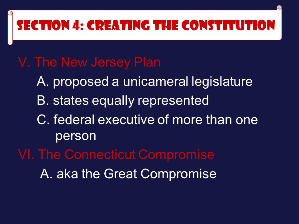 V.The New Jersey Plan A. proposed a unicameral legislature B.