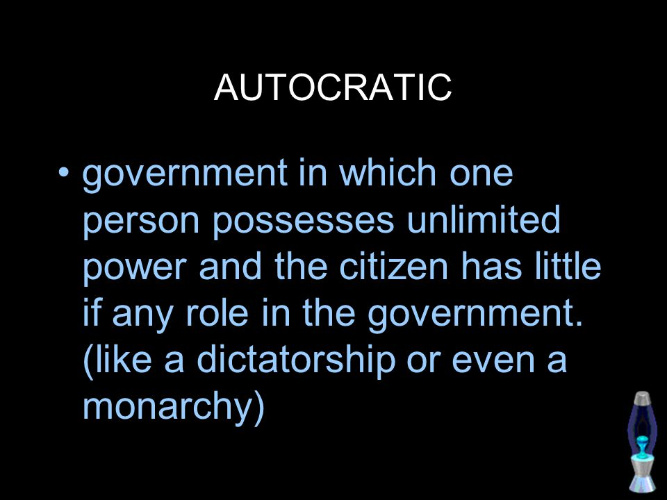 OLIGARCHIC government by the few, sometimes a government in which a small group exercises control especially for corrupt and selfish purposes.