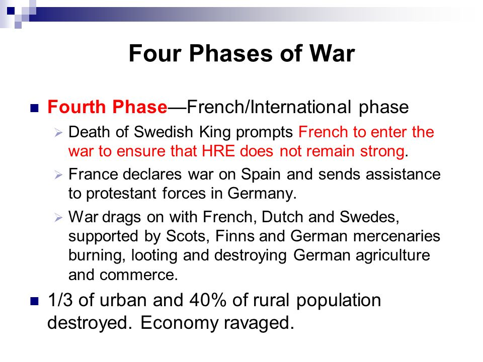 Four Phases of War Fourth Phase—French/International phase  Death of Swedish King prompts French to enter the war to ensure that HRE does not remain strong.