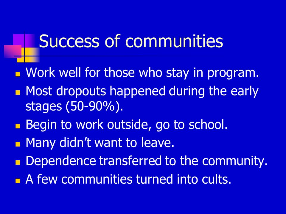 Success of communities Work well for those who stay in program.