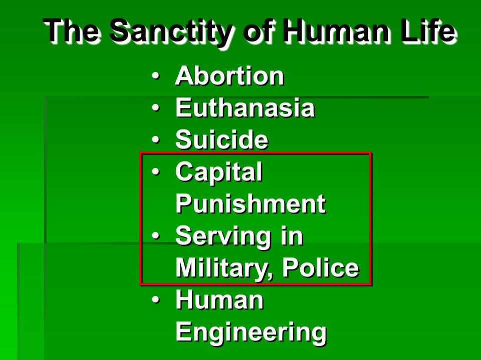 The Sanctity of Human Life Abortion Euthanasia Suicide Capital Punishment Serving in Military, Police Human Engineering Abortion Euthanasia Suicide Capital Punishment Serving in Military, Police Human Engineering Capital Punishment