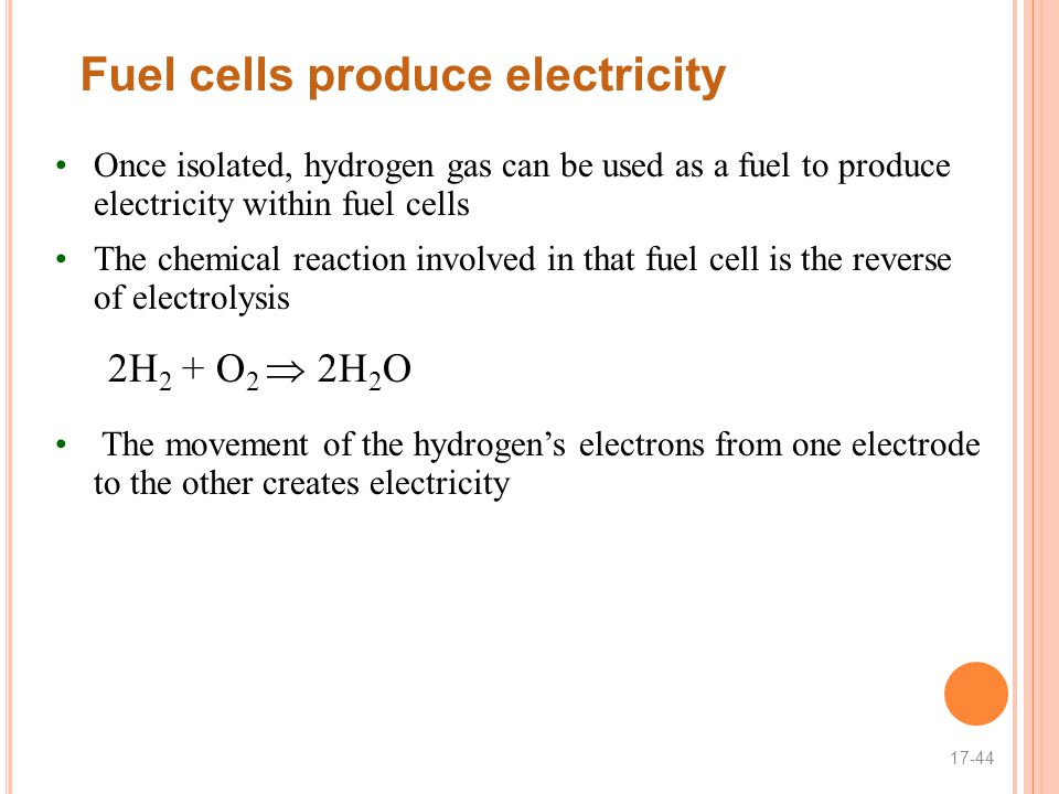 Fuel cells produce electricity Once isolated, hydrogen gas can be used as a fuel to produce electricity within fuel cells The chemical reaction involved in that fuel cell is the reverse of electrolysis 2H 2 + O 2  2H 2 O The movement of the hydrogen's electrons from one electrode to the other creates electricity 17-44