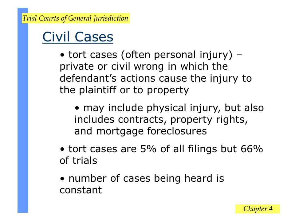 Civil Cases tort cases (often personal injury) – private or civil wrong in which the defendant's actions cause the injury to the plaintiff or to prope