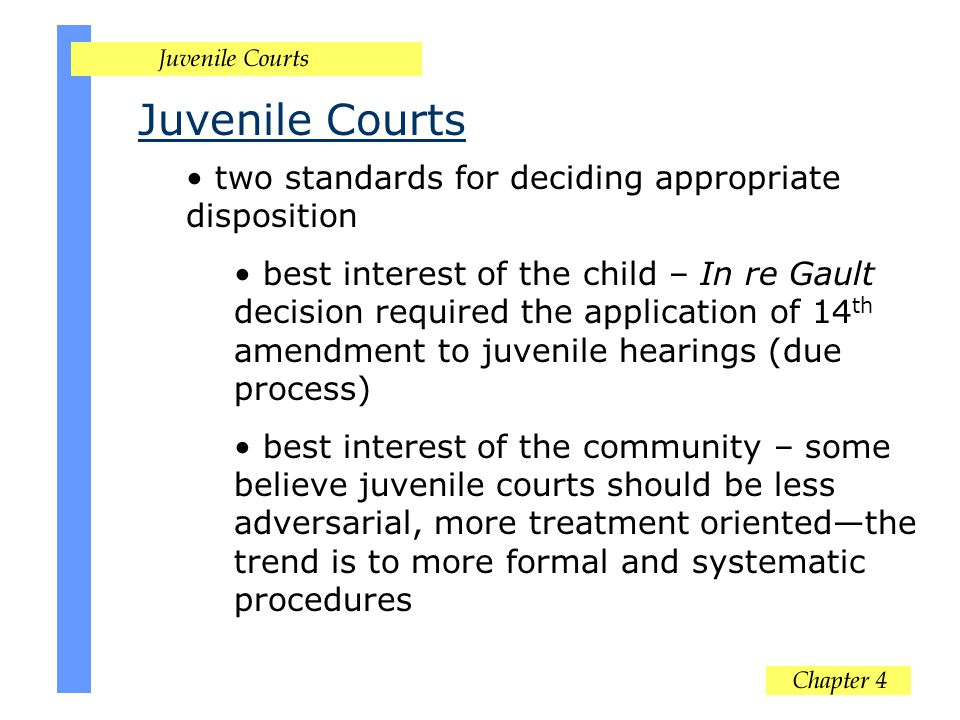 Juvenile Courts two standards for deciding appropriate disposition best interest of the child – In re Gault decision required the application of 14 th