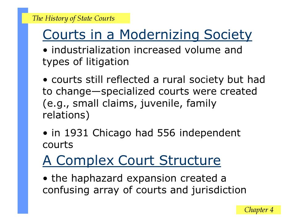 Conclusion state caseload growth has been tremendous response to this growth has not always been well planned or evaluated common elements include basic three tier system with specialized courts (e.g., juvenile) are a common target of judicial reformers state courts do not exist in isolation and have proven to be highly adaptable