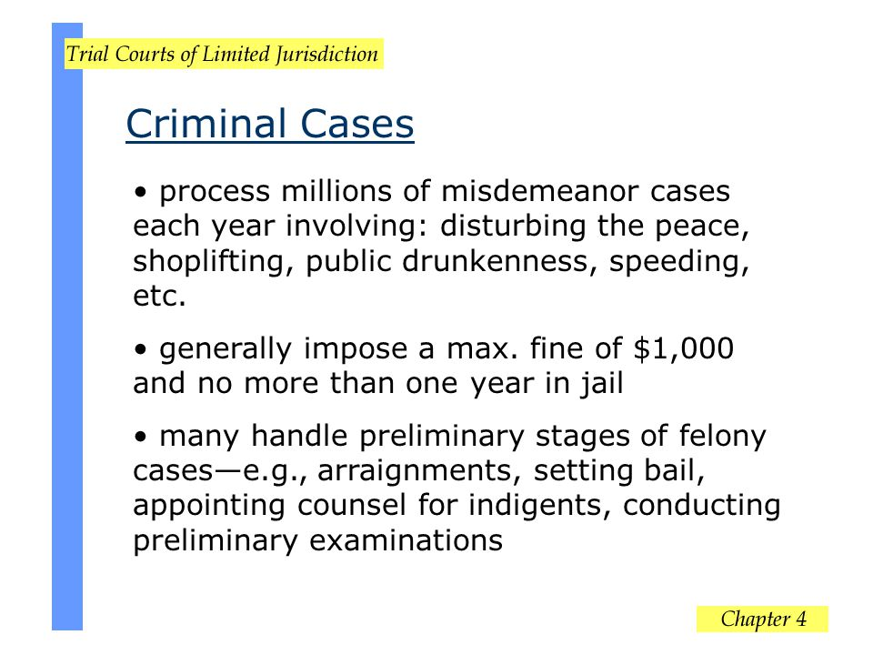 Criminal Cases process millions of misdemeanor cases each year involving: disturbing the peace, shoplifting, public drunkenness, speeding, etc. genera