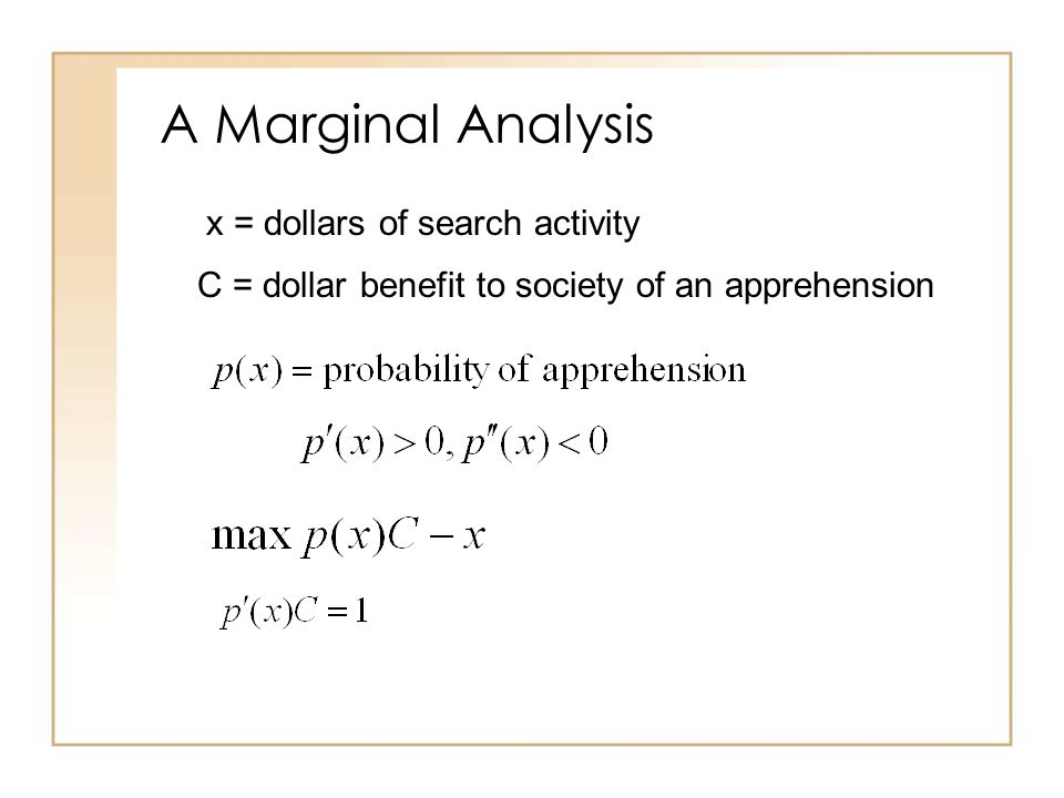 A Marginal Analysis x = dollars of search activity C = dollar benefit to society of an apprehension