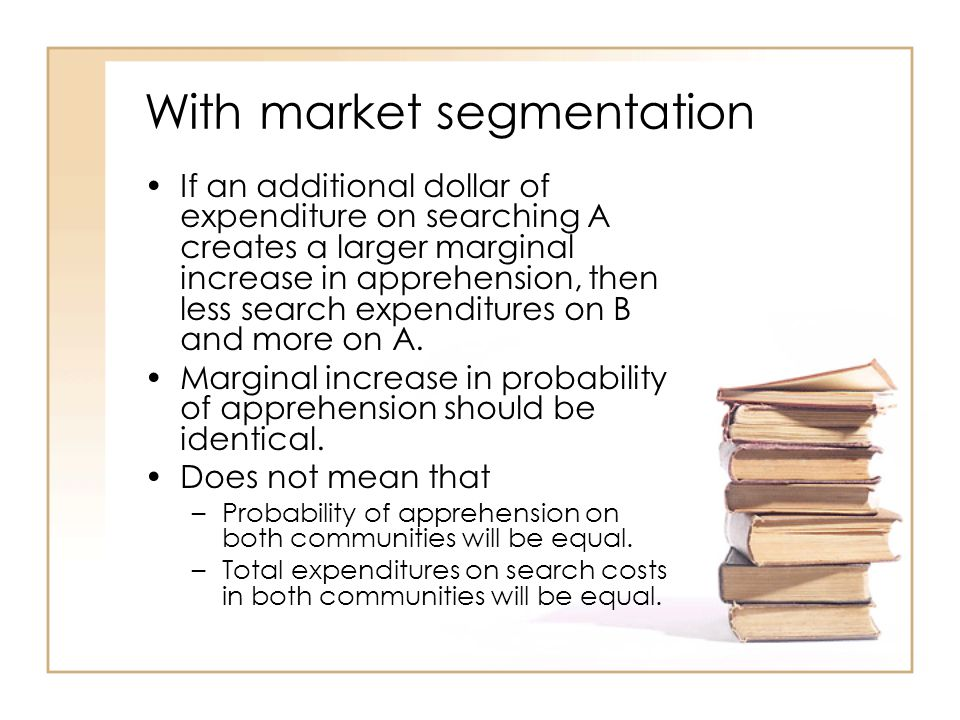 With market segmentation If an additional dollar of expenditure on searching A creates a larger marginal increase in apprehension, then less search expenditures on B and more on A.