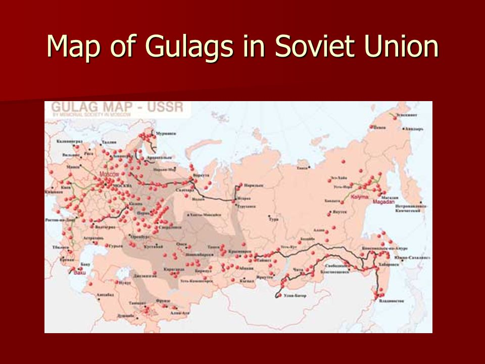 Map of Gulags in Soviet Union