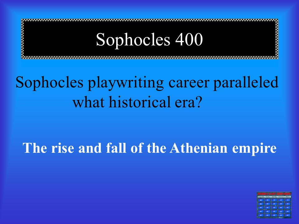 Sophocles 300 Sophocles plays were so popular that what measures were taken to protect him as a celebrity? The military had to protect him from his fa