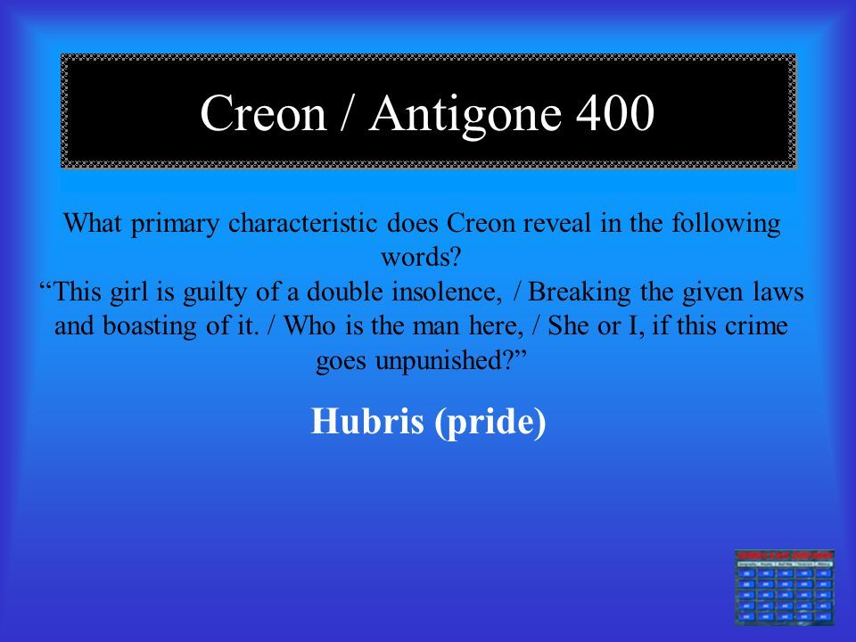 antigone thesis papers The climax of antigone is when creon and antigone have their confrontation, and creon realizes he cannot overpower her she goes on teasing and disobeying him, and so he angrily condemns her to death.