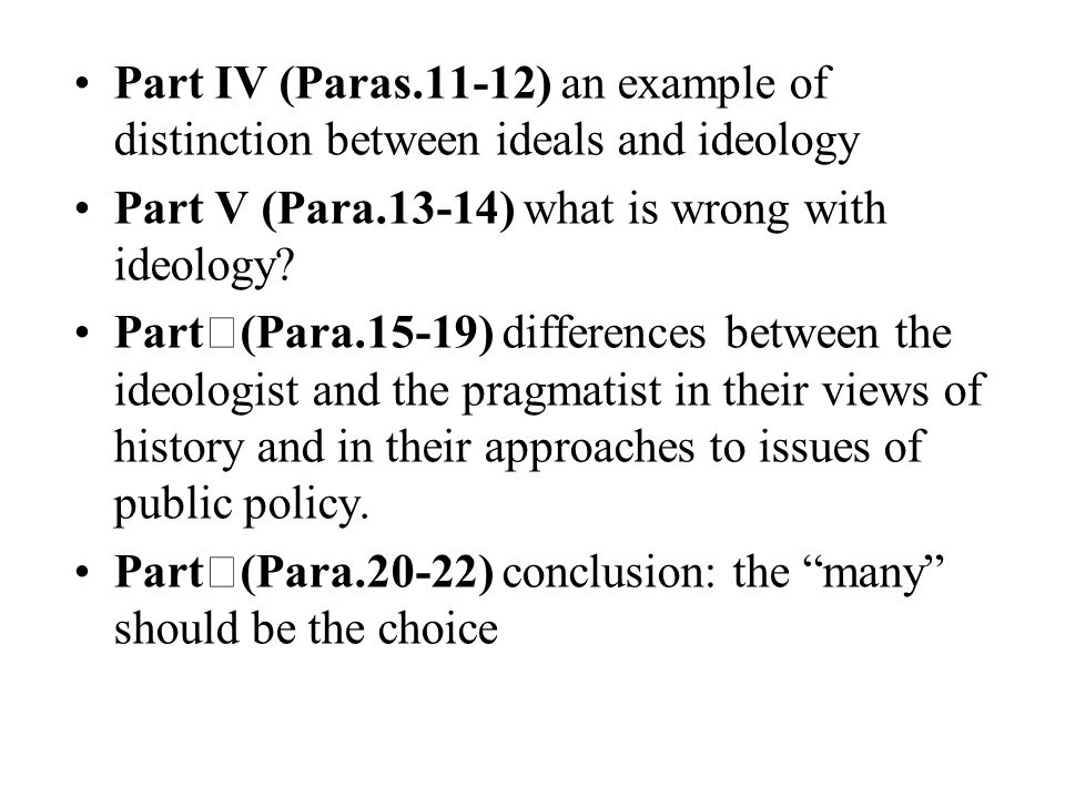 Part IV (Paras.11-12) an example of distinction between ideals and ideology Part V (Para.13-14) what is wrong with ideology? Part Ⅵ (Para.15-19) diffe