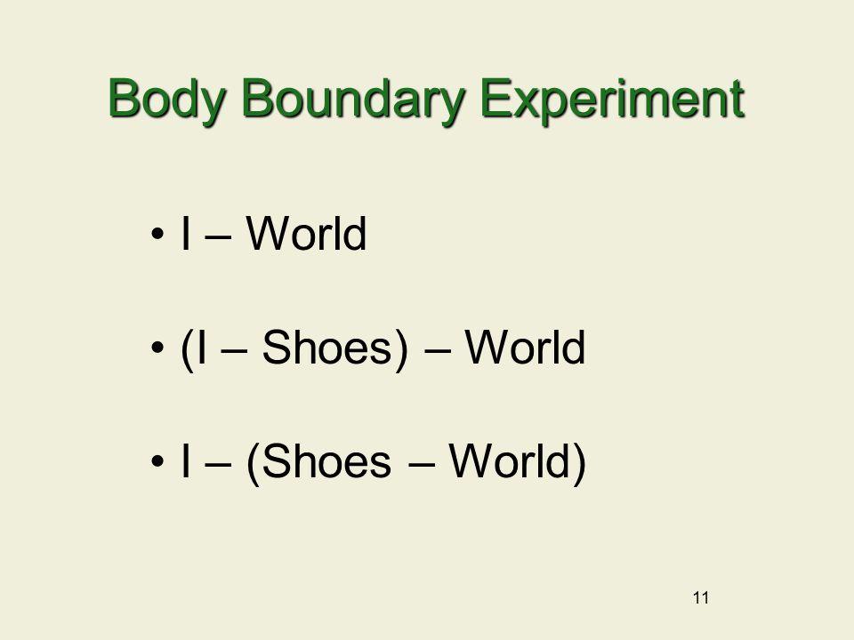 11 Body Boundary Experiment I – World (I – Shoes) – World I – (Shoes – World)