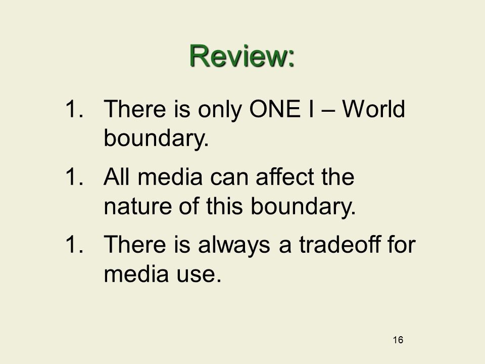 16 Review: 1.There is only ONE I – World boundary.