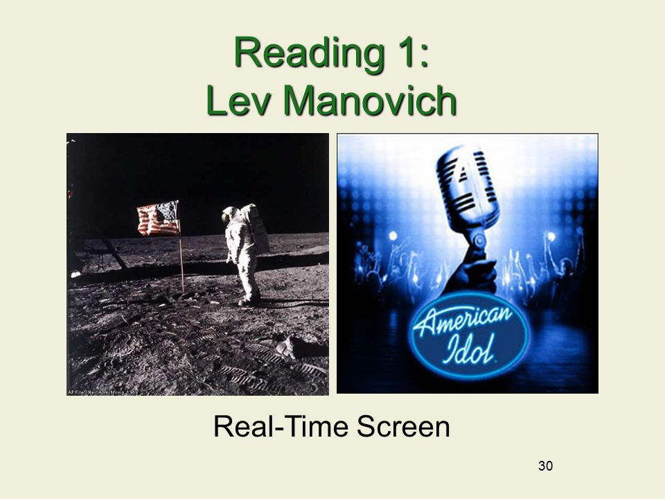 30 Reading 1: Lev Manovich Real-Time Screen