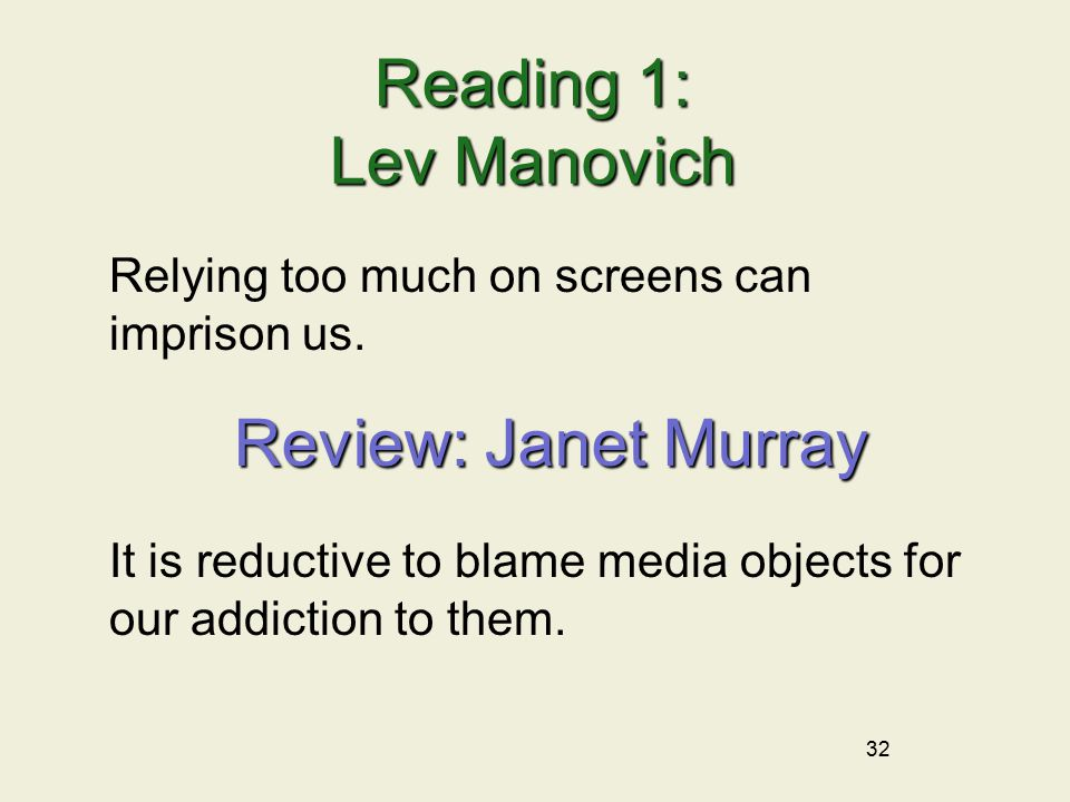 32 Reading 1: Lev Manovich Relying too much on screens can imprison us.