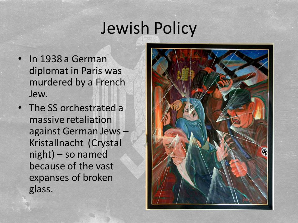Jewish Policy In 1938 a German diplomat in Paris was murdered by a French Jew.