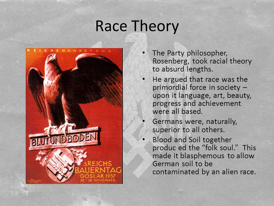 Race Theory The Party philosopher, Rosenberg, took racial theory to absurd lengths.