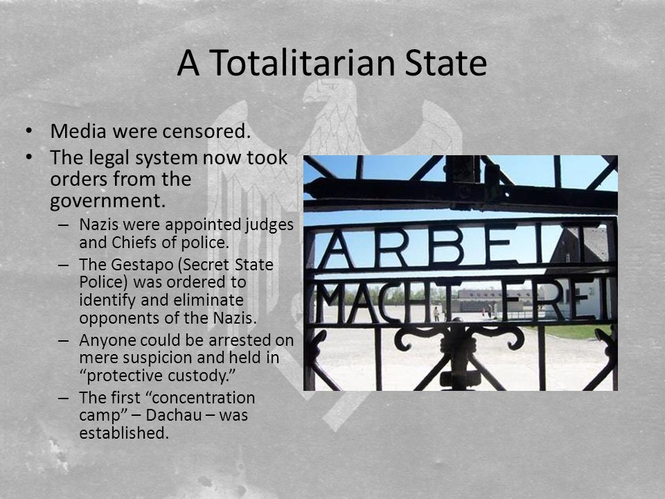 A Totalitarian State Media were censored.The legal system now took orders from the government.
